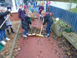 Sweeping the leaves into piles was hard work!