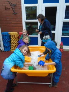 We enjoyed using the scrubbing brushes to clean all the sand toys.