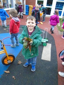 We used gardening gloves when we picked up the leaves to put into black bags.