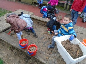We helped to prepare the sand pit for some nice, new sand.