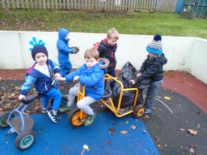 We had a great idea to use the bike and trailer to carry our bags of leaves around.