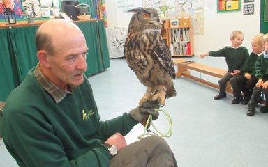 Kielder Birds of Prey visit Reception!
