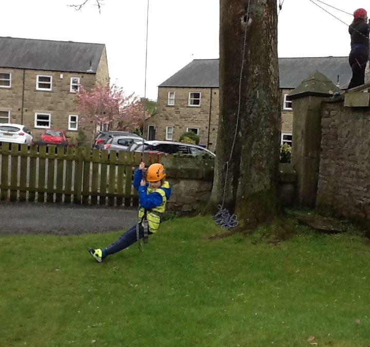 Year 5 residential: High Rope challenge! Yikes!